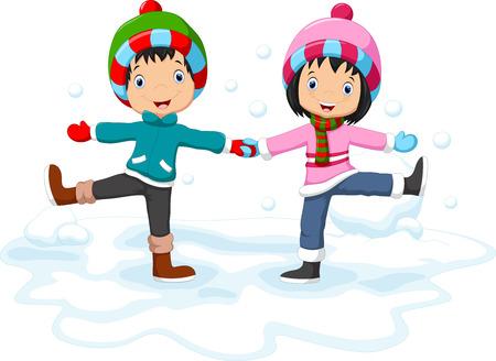 winter fun: Boys and girls having fun in winter