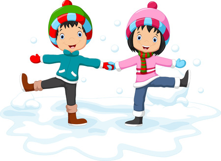 blissful: Boys and girls having fun in winter
