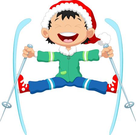 skier jumping: Skier jumping cartoon
