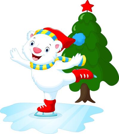 arboles de caricatura: Ilustración de lindo oso polar en patines para hielo