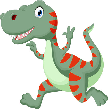 cute dinosaur: Cute dinosaur cartoon running