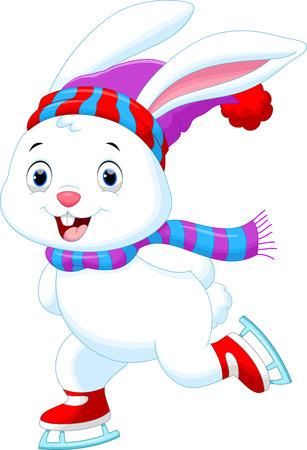 アイス スケートの面白いウサギのイラスト