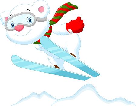 Funny cartoon polar bear on the Ski
