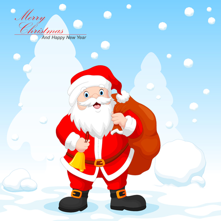 Santa claus with a bag and a bell on snowfall background