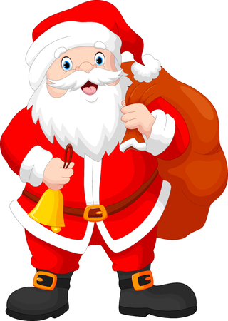 santa suit: Santa claus with a bag and a bell Illustration