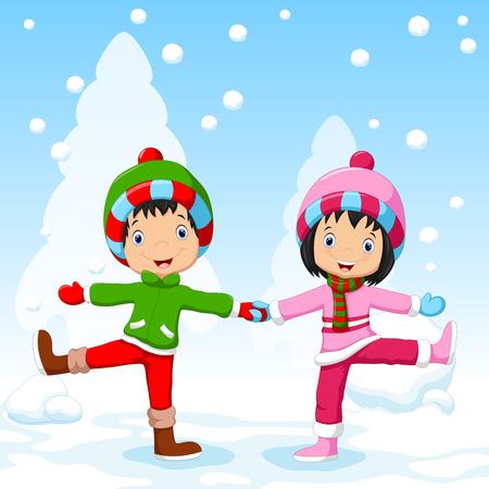 winter fun: Boy and girl having fun in winter Illustration