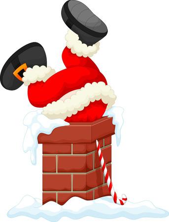 Santa Claus stuck in the Chimney Ilustração