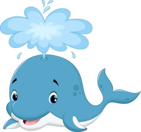 crazy cute: Vector illustration of cute whale cartoon