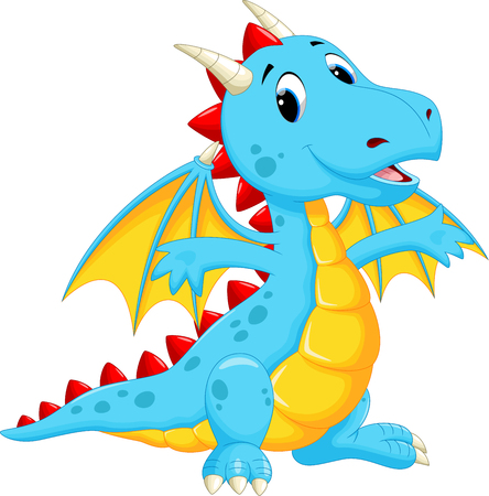 dinosaur cute: Cute dragon cartoon