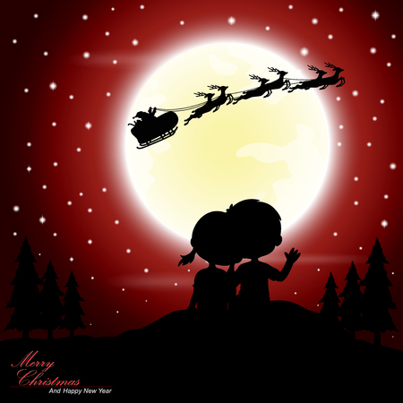 night background: Boys and girls see Santa Claus riding a sleigh pulled by reindeer with the moon as a background Illustration