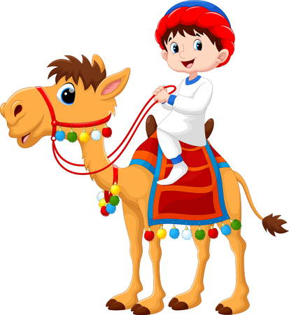 Illustration of Arab boy riding a camel