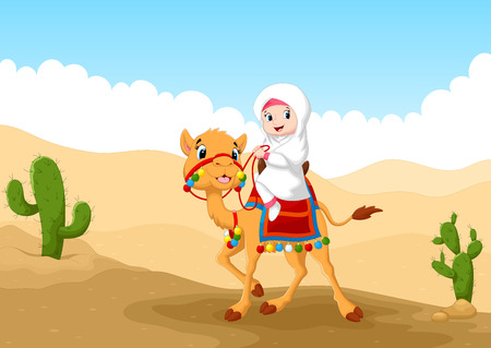cactus desert: Illustration of Arab girl riding a camel in the desert