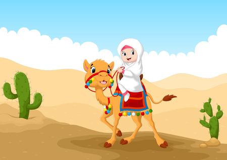animales del desierto: Ilustraci�n de la muchacha �rabe montado en un camello en el desierto