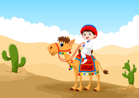 Illustration of Arab boy riding a camel in the desert