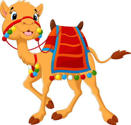 camels: Cartoon camel with saddlery