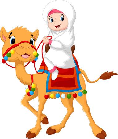 Illustration of Arab girl riding a camel Stock Illustratie
