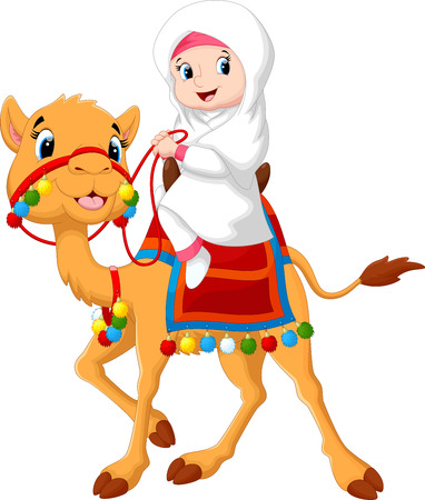 Illustration of Arab girl riding a camel Illustration
