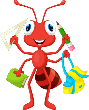 cartoon ant: Ant with school supplies Illustration