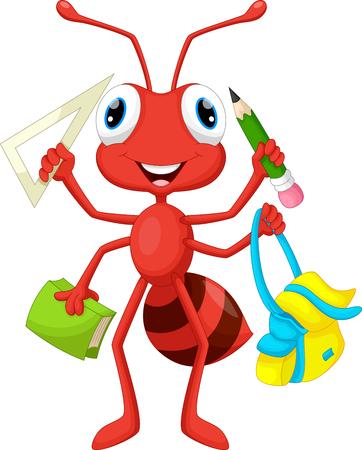 hormiga caricatura: Hormiga con útiles escolares