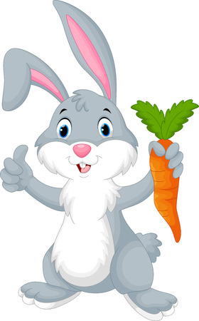 Cute cartoon rabbit holding a carrot Ilustracja