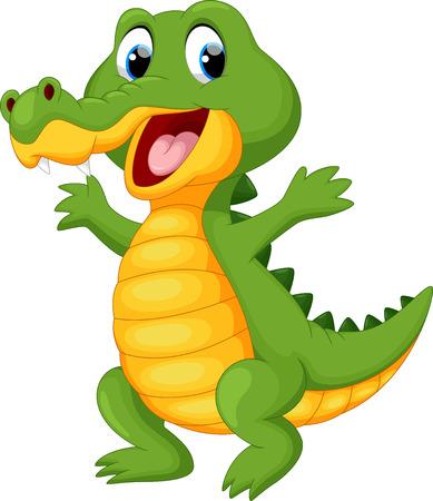 Happy fun crocodile cartoon Vettoriali