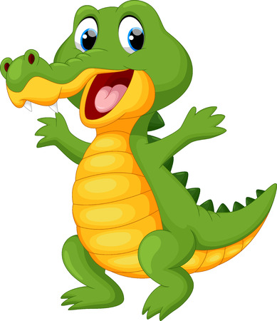 Happy fun crocodile cartoon Illustration