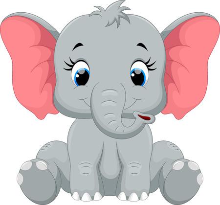 귀여운 코끼리 만화 앉아