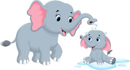 Ilustración vectorial de elefantes madre baña a su hijo