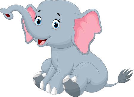 Schattige olifant cartoon zitten