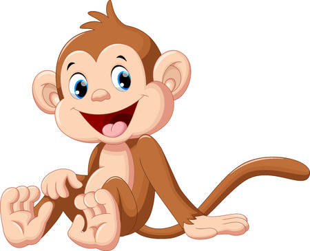 Cute baby monkey cartoon sitting Çizim