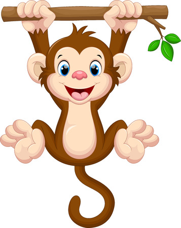 tropical plant: Cute baby monkey hanging on tree Illustration