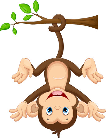 Cute baby monkey hanging on tree Stock Illustratie