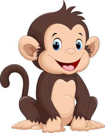 animales safari: Historieta linda del mono