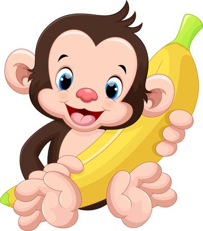 face of baby: Cute monkey holding a banana
