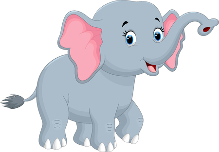 Cute elephant cartoon Vettoriali