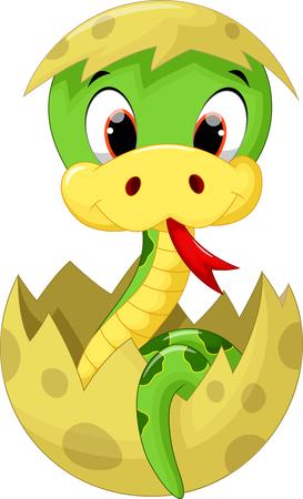 serpiente caricatura: Serpiente de la historieta linda del bebé Vectores