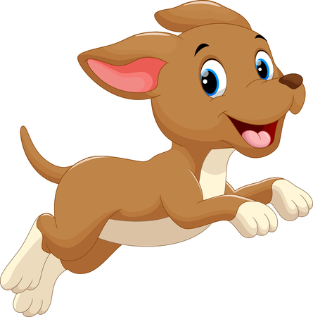 chien: chien mignon dessin animé en cours d'exécution Illustration