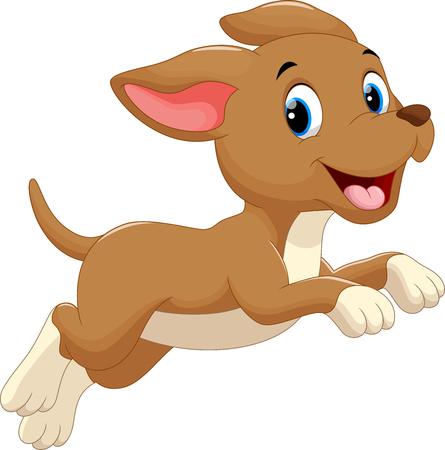 Söt hund tecknad rinnande