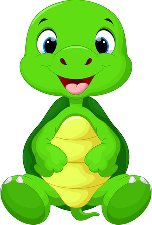 depth: Cute turtle cartoon sitting