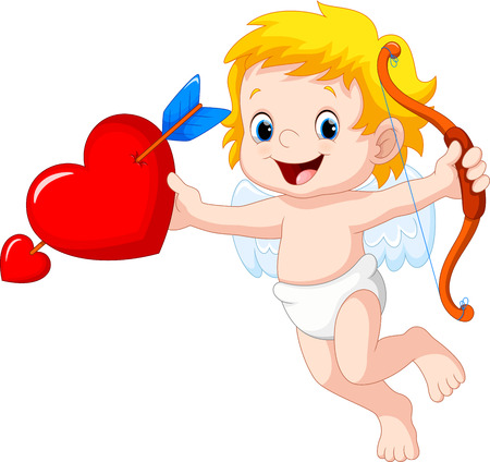 rogue: Cute cartoon cupid holding red heart