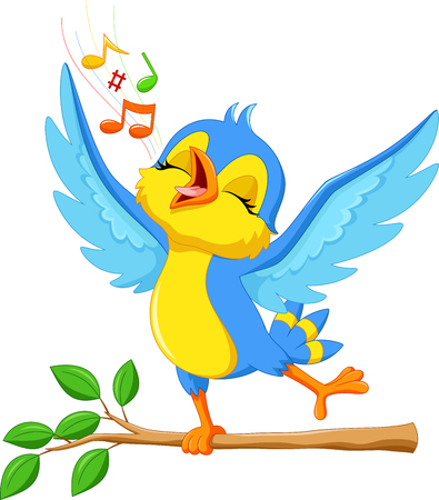 birds: illustration of cute bird singing