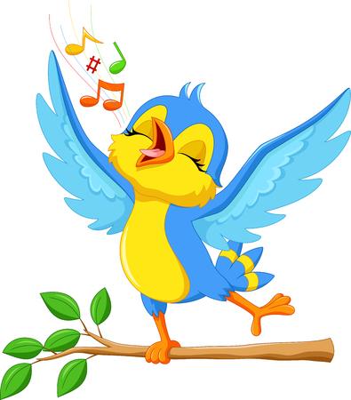 pajaro caricatura: ilustración del canto del pájaro lindo Vectores