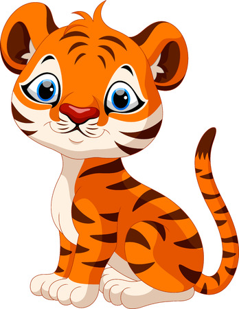 tigre bebe: Bebé lindo que se historieta del tigre Vectores