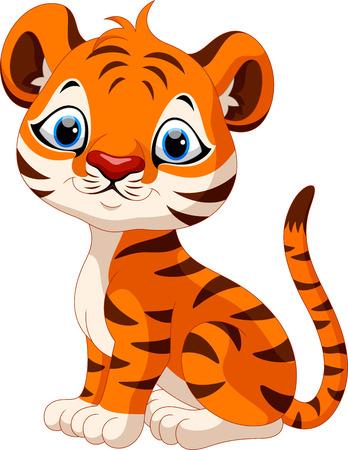 dexterous: Cute baby tiger cartoon sitting