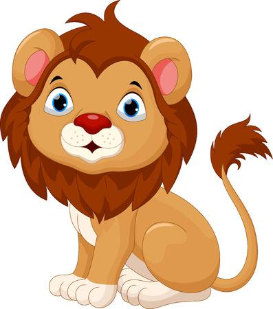 big eye cartoon: Cute baby lion cartoon sitting