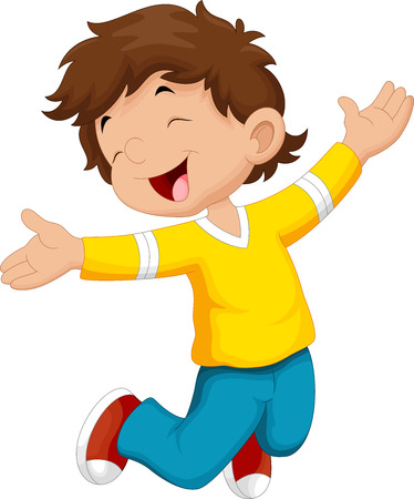 brincando: ni�o feliz y salto