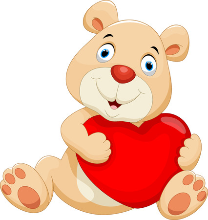 wooing: Bear with the big red heart