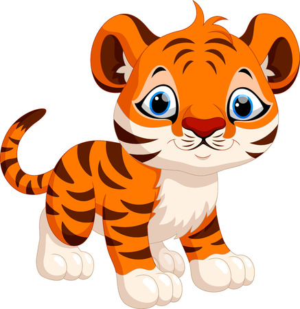tigre caricatura: Historieta linda del tigre Vectores