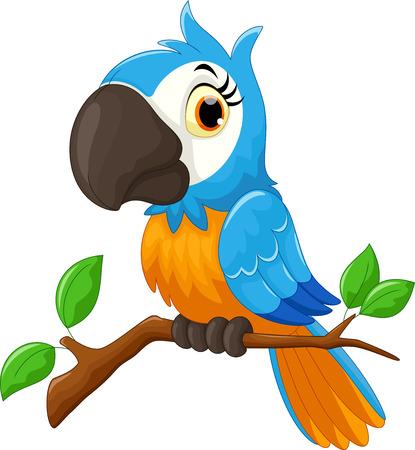 cartoon parrot: Cartoon parrot sitting on tree branch