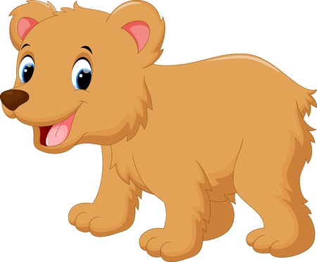 brown bear: Cute baby bear cartoon